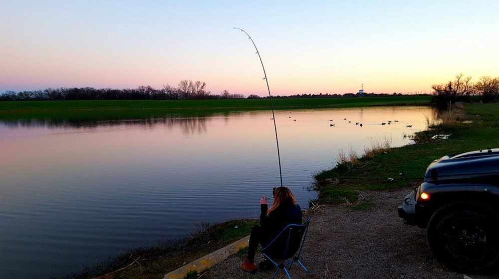 @bissellee catching carp from a chair.