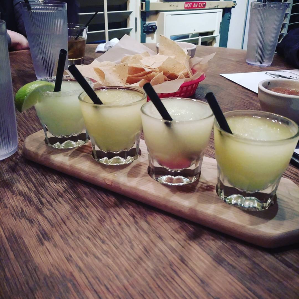 Shades of green from @thebrainybabe with the margarita flight at Agua Dulce.