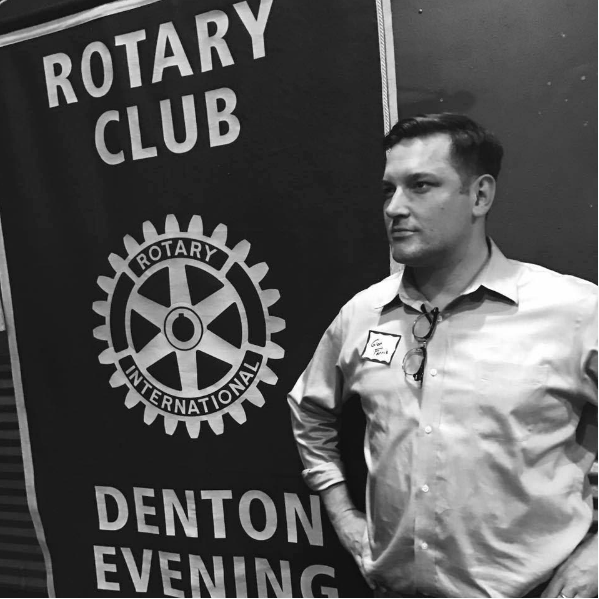Glen Farris, President of the new Denton Evening Rotary Club, contemplates their ambitious vision with his best thousand-yard stare.