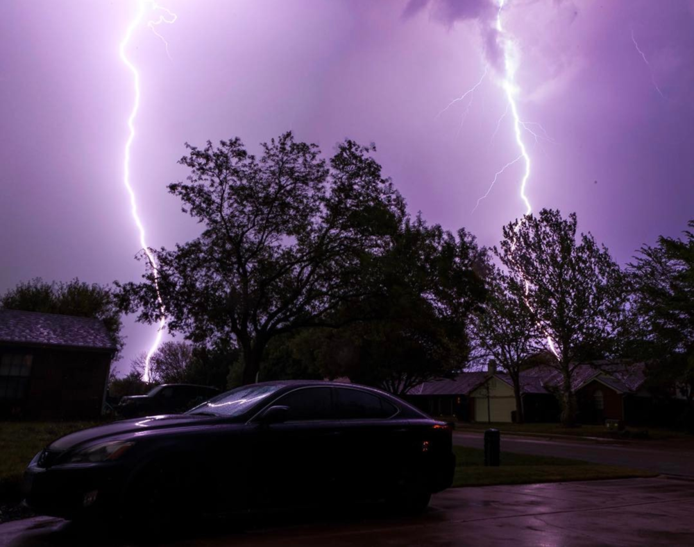 @bradholt with a great photo of some lightning over Denton during one of last week's storms.