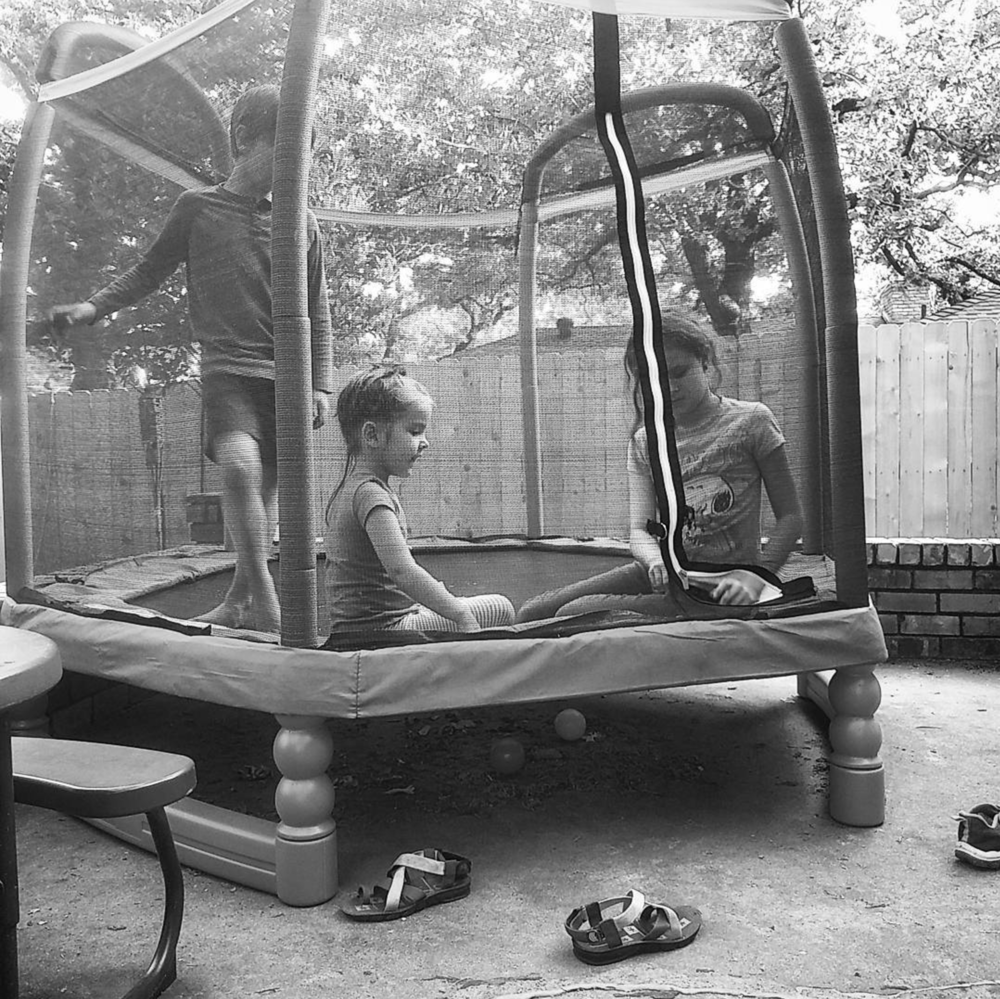 @dentonjohanna and friends on trampolines.