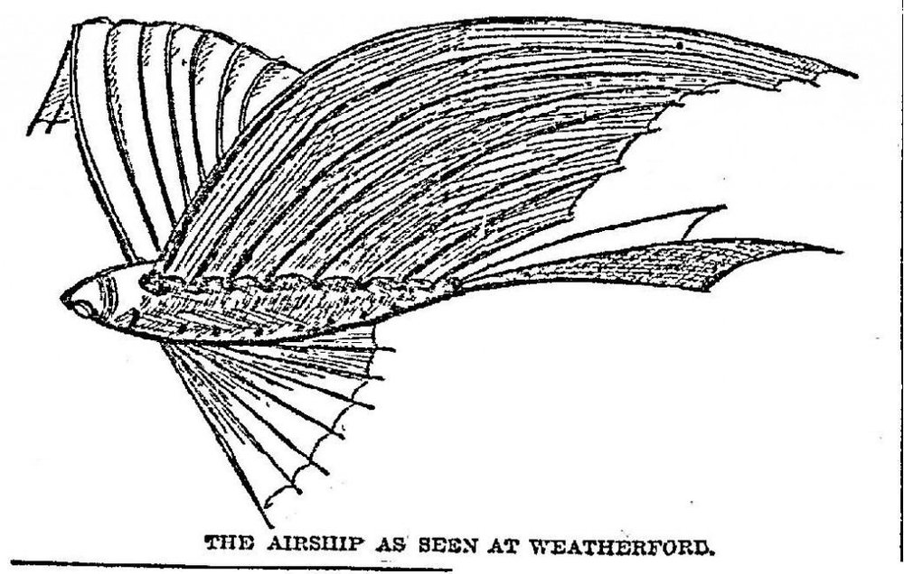 An 1897 sketch of the strange Airship, from The Dallas Morning News.