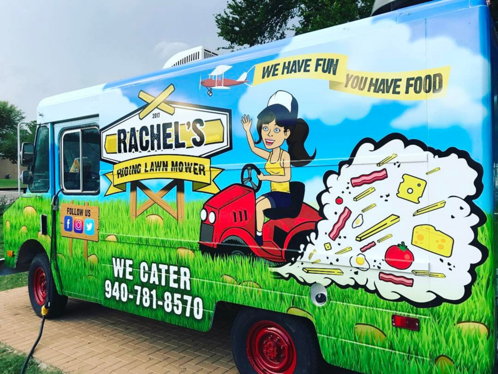 @bigdock with a photo of Denton's newest food truck, Rachel's Riding Lawn Mower, from Rachel Black of Waffle Wagon fame.