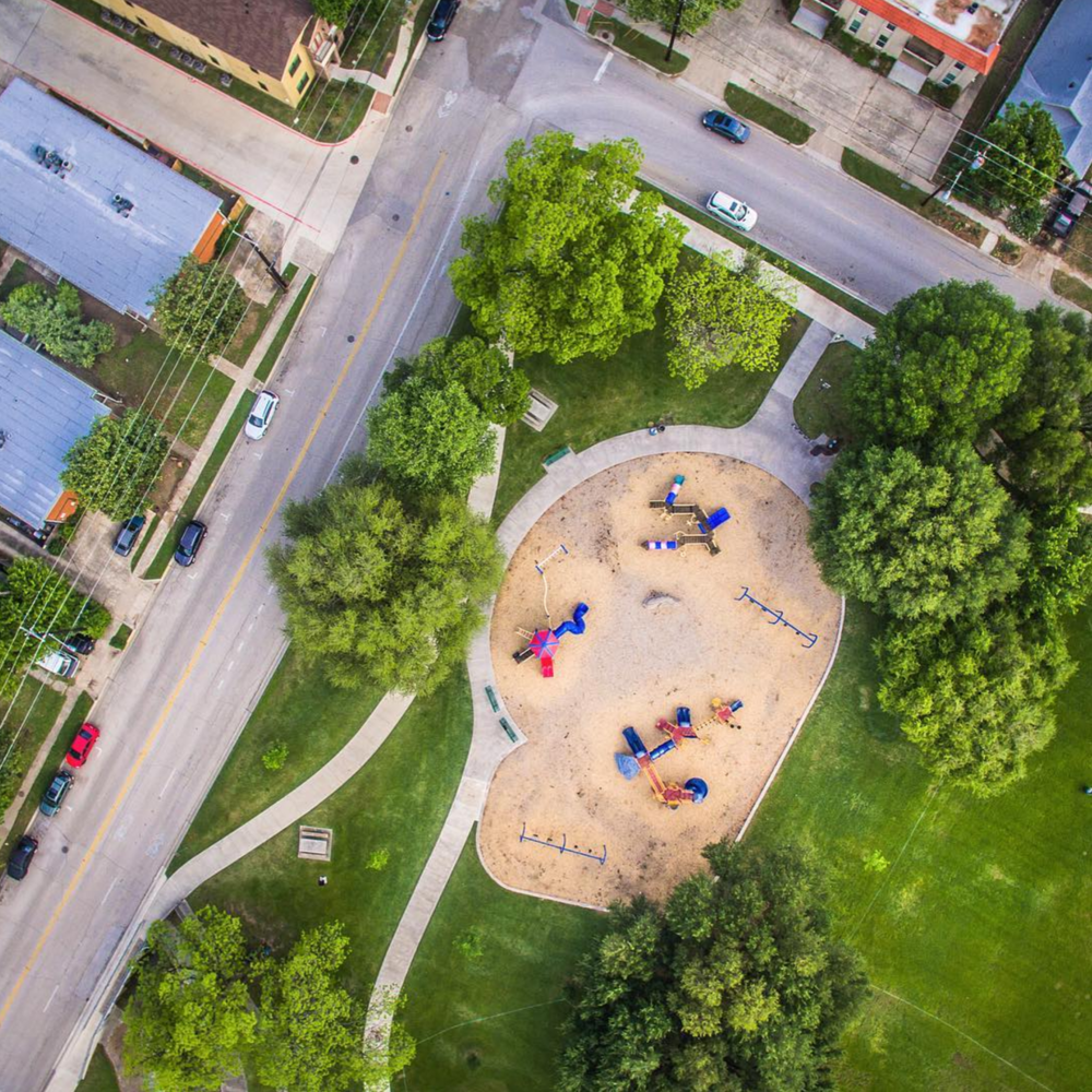 @cybur with an aerial shot of Quakertown Park before the Arts and Jazz festivities began last week.