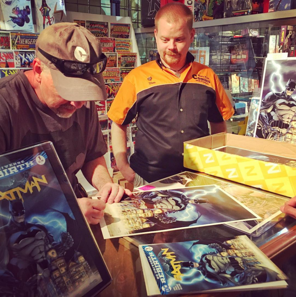 @scottwilliamsinks signing covers at More Fun on Free Comic Book Day. Photo by @dentonaut.