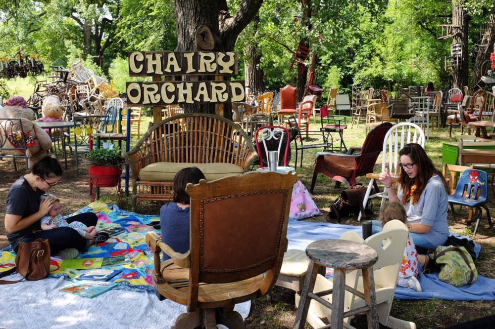 @haleyhomestead and company reading, exploring and playing at the Chairy Orchard last week.