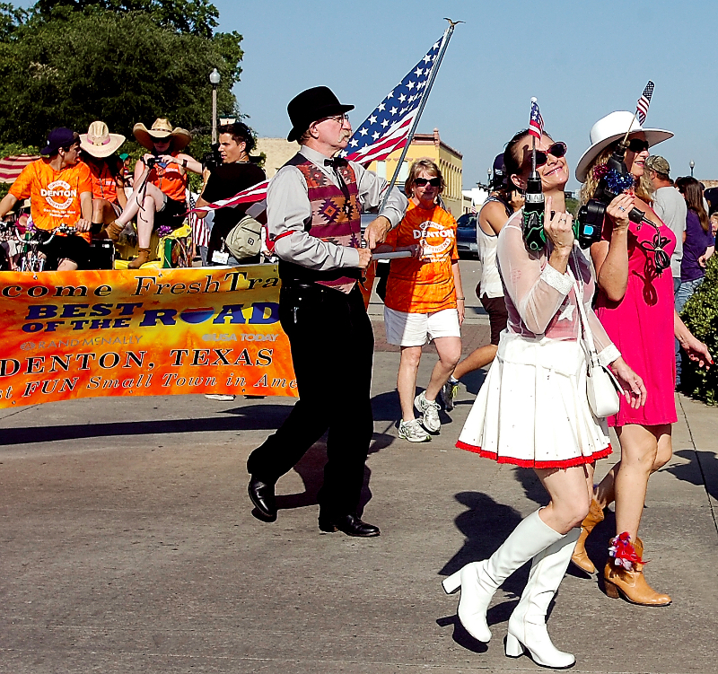 They're out of tune and out of key. And they do not care. The only rule of the Denton Institute of Phrenology Half-Fast Marching Band is that there are no rules. Photo courtesy of the Denton Record-Chronicle, 2013.