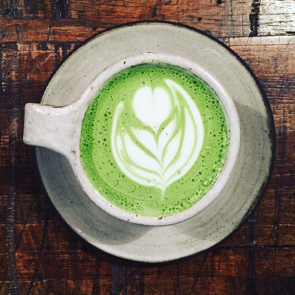 Matcha latte at West Oak Coffee Bar from @authorkaylaolson.