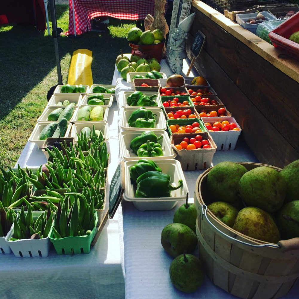 Lots of green and red produce at the @communitymarket.