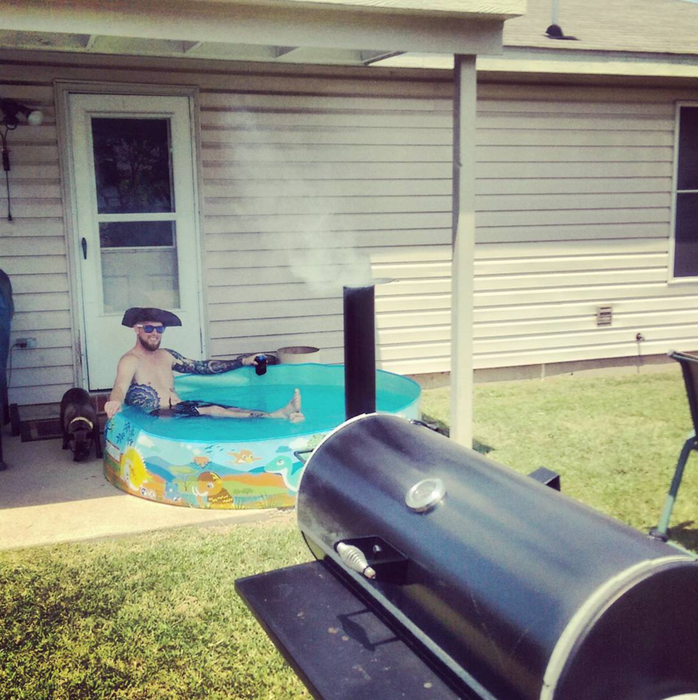 For @sleepygilbot summer means smoked meats, tri-corner hats, and blow up kiddie pools.
