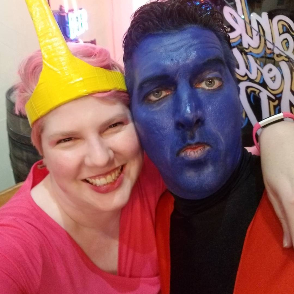 Princess Bubblegum and Nightcrawler at last week's cosplay-focused Nerd Nite Denton lecture. Photo by @wildemoon5.