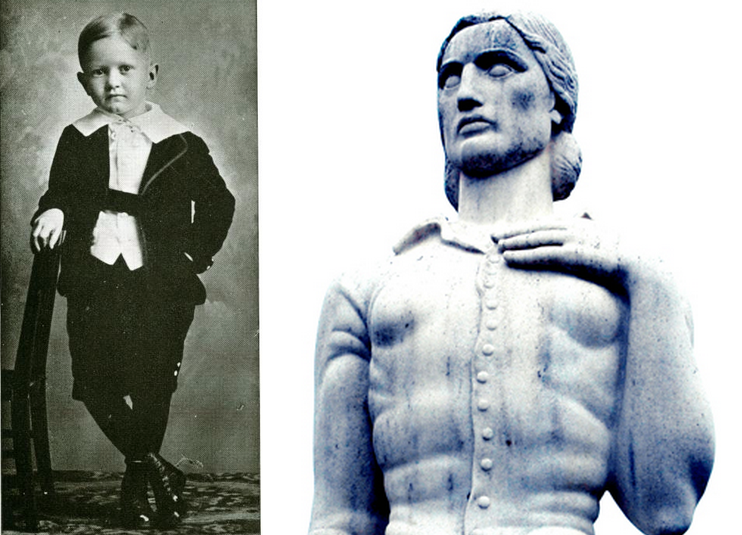 "Who do you reckon would win in a TWU mascot competition: Young Master Joey Bill Bralley, dapper 1916 CIA Mascot, or the huge-hands TWU Pioneer Woman ""Minerva"" stoically clutching her pearls? Either way, at least they're clothed."