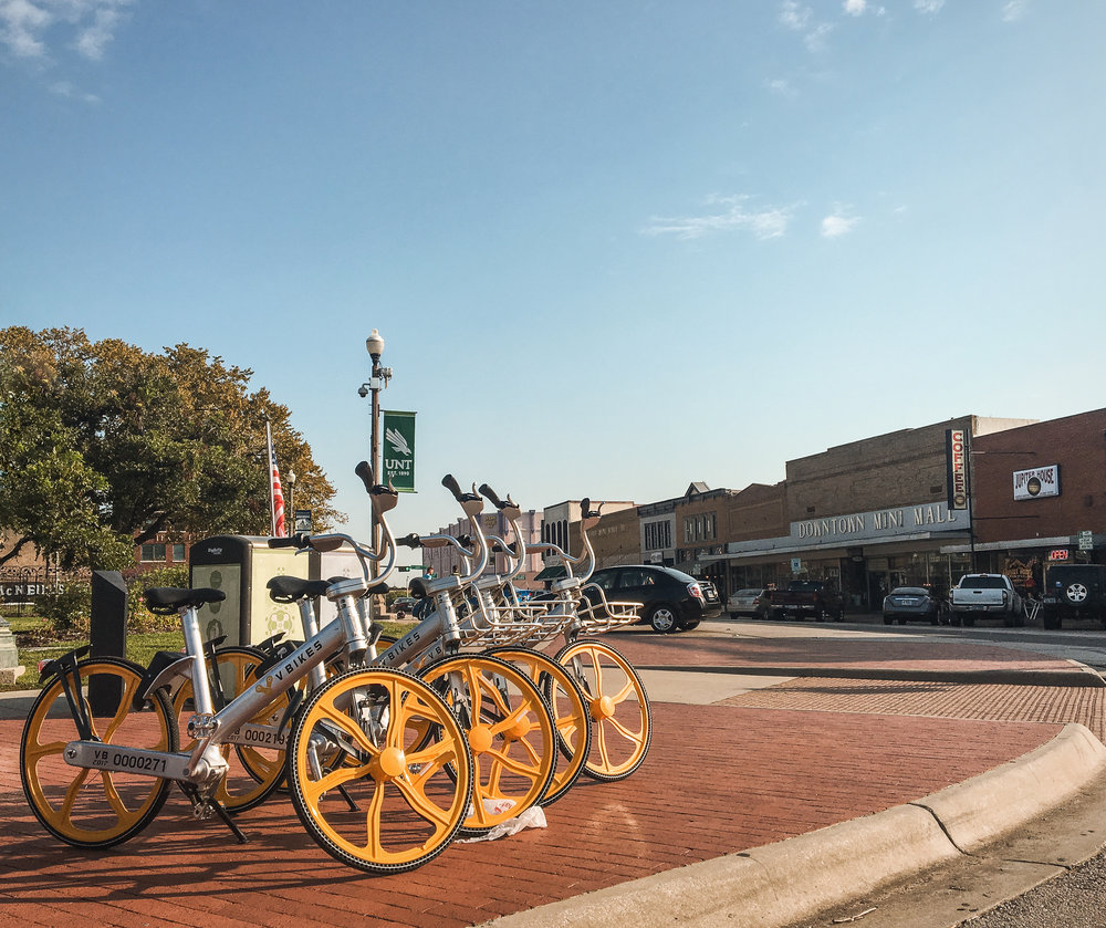 We are still loving the @VBikes in Downtown Denton. Have y'all taken one for a ride yet? Photo by @wedentondoit.