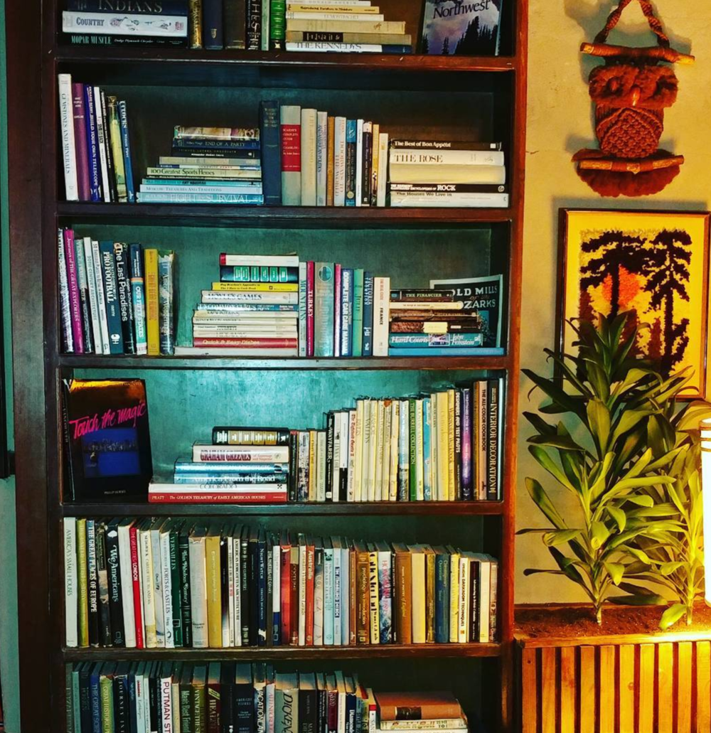 @thebrainybabe with a photo of the book shelf at Paschall.