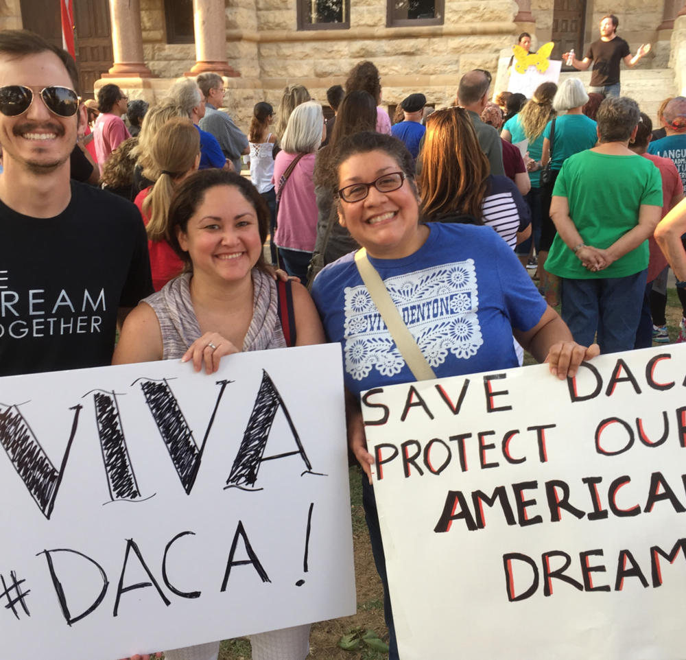 @denton_goal and others speaking up in support of DACA on the square last week.