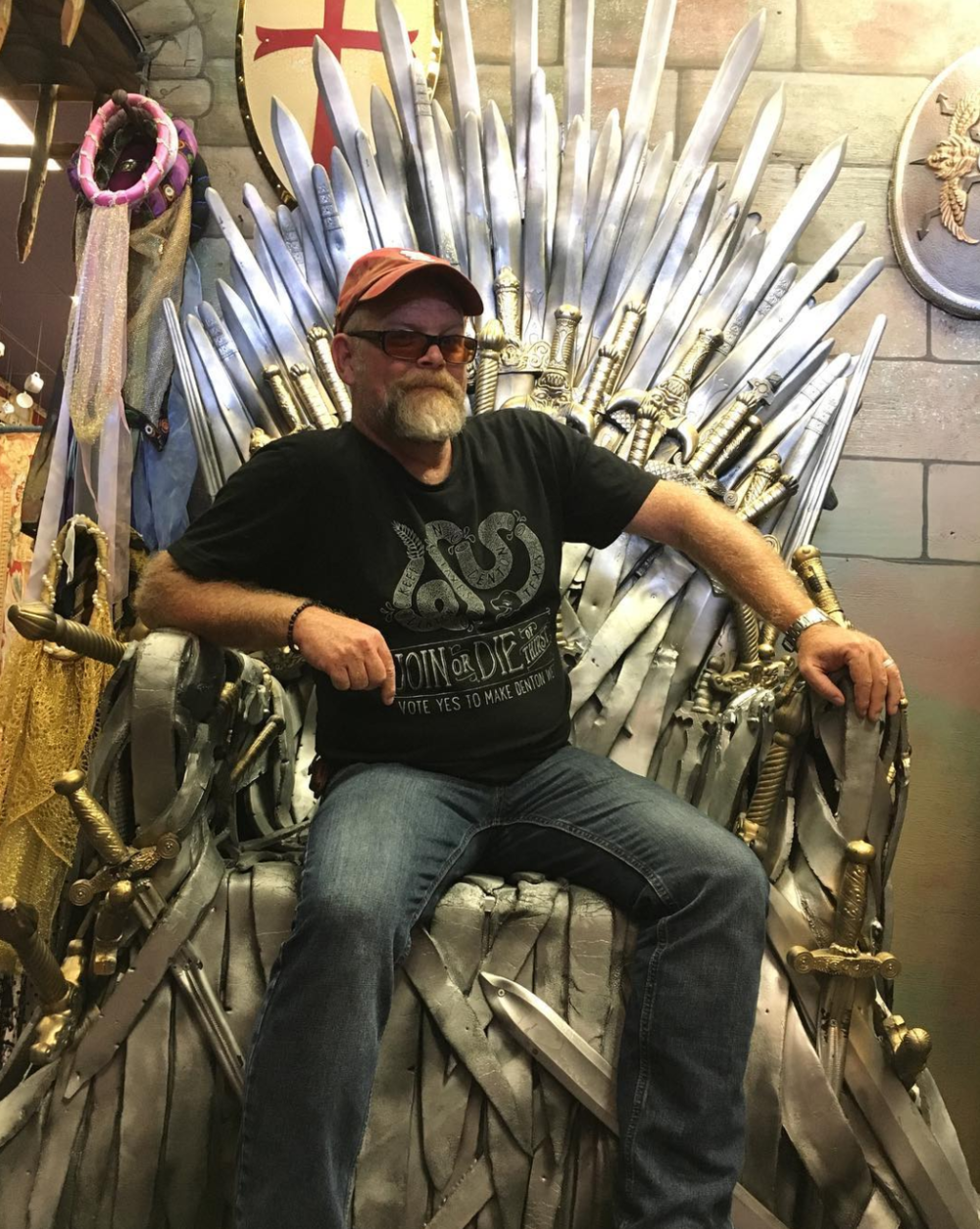 @dentonaut on the iron throne at Rose Costumes.
