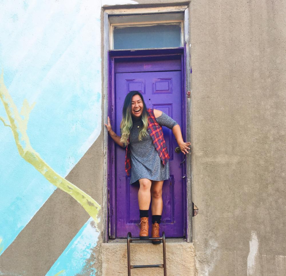 @sarasaywhat at the purple door.