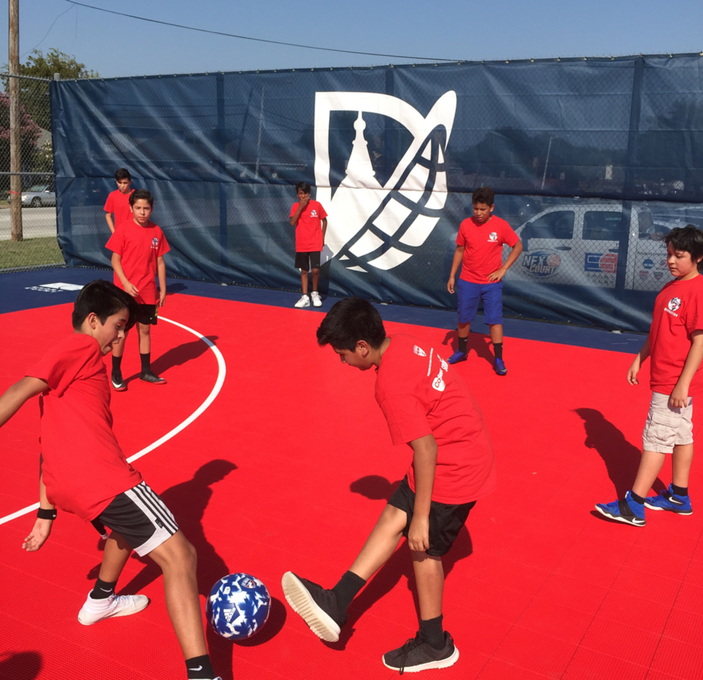 @denton_goal at the vibrant new Strickland Middle School soccer field.