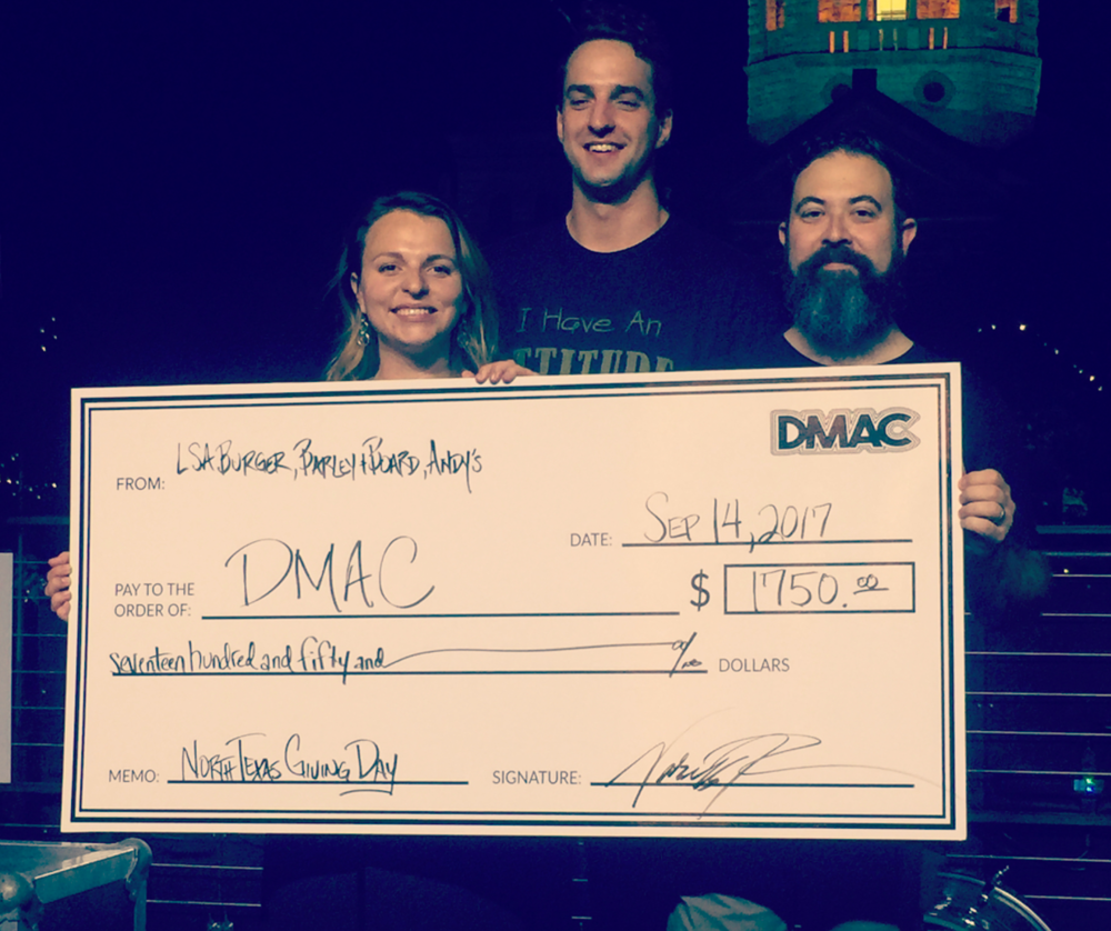 DMAC with one of those BIG checks from North Texas Giving Day. You can still donate today if you didn't get a chance last week. Just click here. Photo by @apacheroseaeroplane.