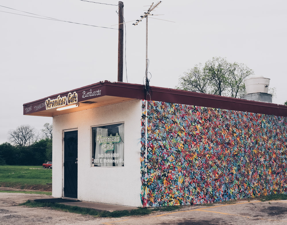 Eric Mancini's mural on the side of Veronica's Cafe on McKinney St. is one of our favorite murals in Denton.