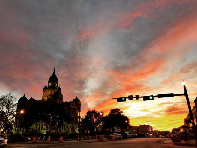 @big_b_1000 with a shot of the courthouse in front of a beautiful weekend sunset.