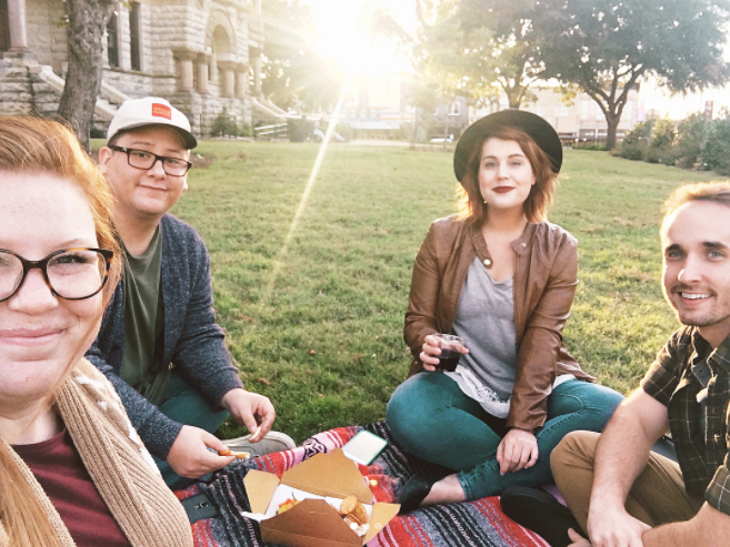 @caseykleeb and company on a progressive picnic on the courthouse lawn.