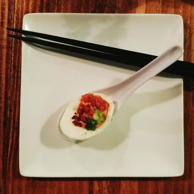 @tea_and_meditation with a kimchi deviled egg at @komodolocodenton.
