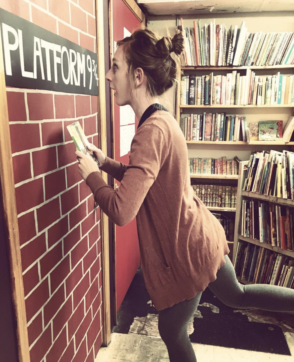 @candus813 going through Platform 9 3/4's at Recycled Books.