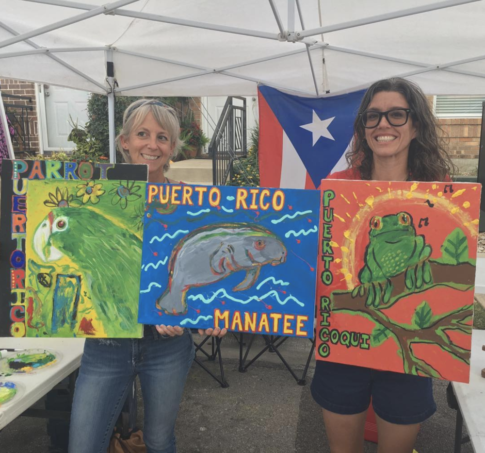 @jodidallas and some community-made paintings that were auctioned off to raise funds for Puerto Rico.
