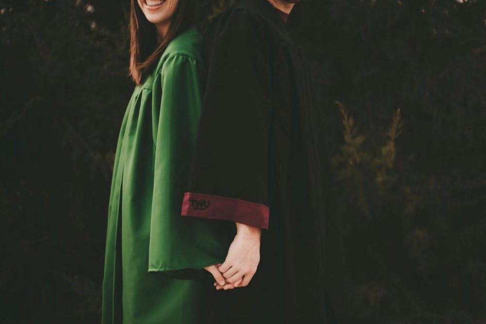 A couple that is one half UNT grad and one half TWU grad shot by @stellagphoto.