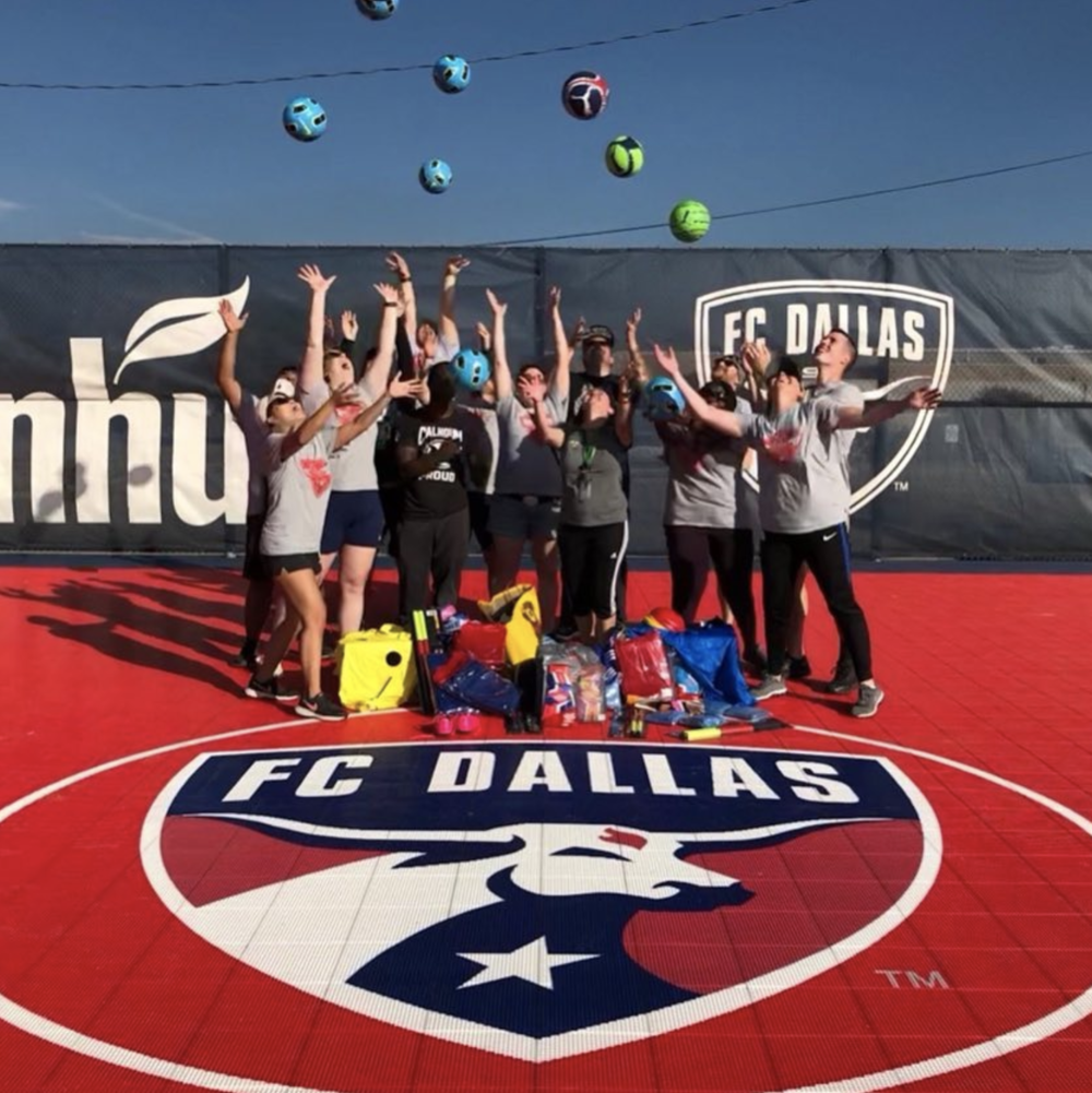 @denton_goal and some balls in the air at Strickland's new field.