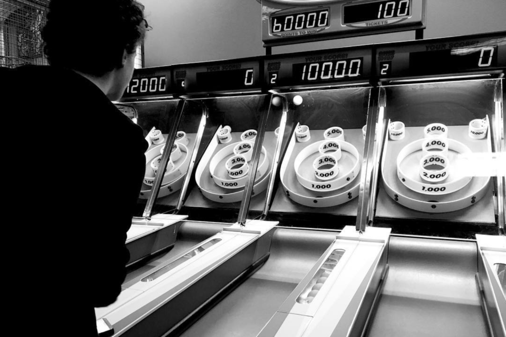 Skee Ball at Chuck E. Cheese's with @kkendrickbigley.
