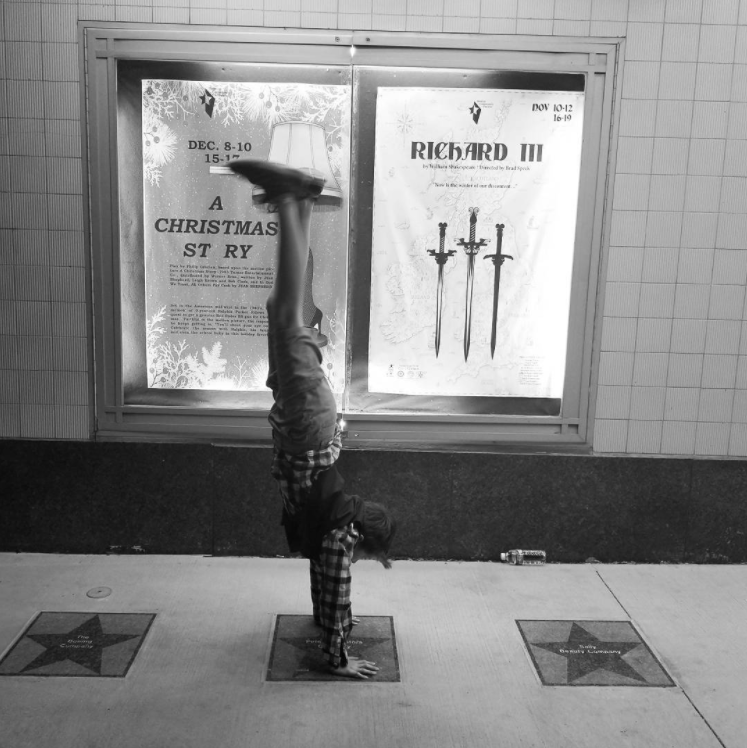 @mrsbriggle and some handstands outside the Campus Theatre.