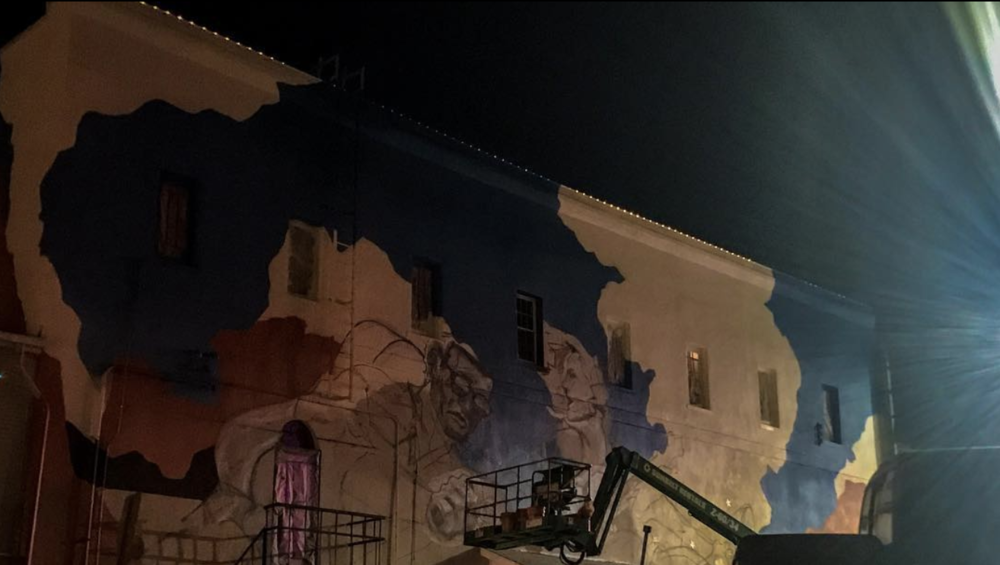 The mural in progress on the side of Andy's/Paschall is coming along nicely. We can't wait to see the finished product! Photo by @infinite_drive.