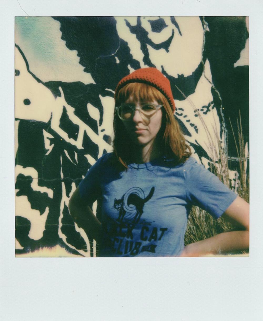 @instantdenton with a photo of Lora of @egan_street_design on Polaroid Originals' new One Step 2 camera.