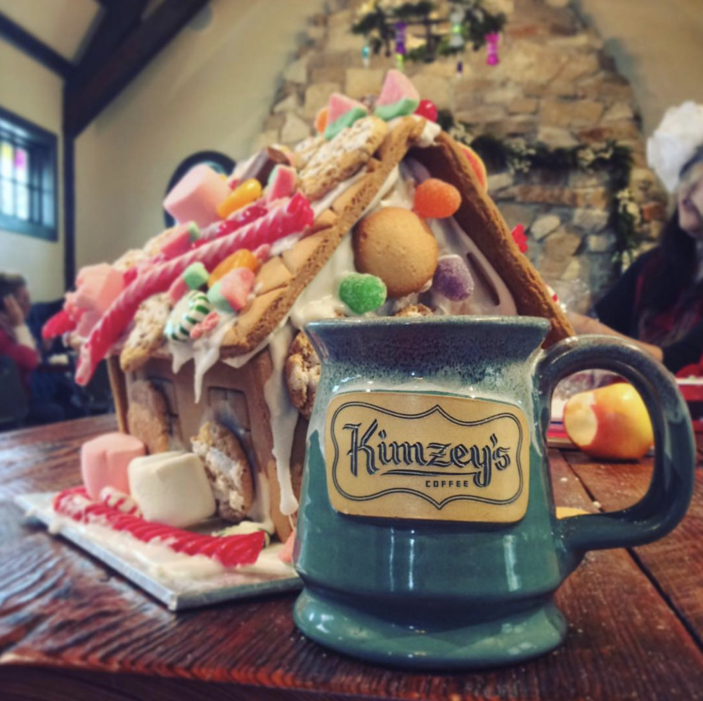 Gingerbread houses at @kimzeyscoffee.