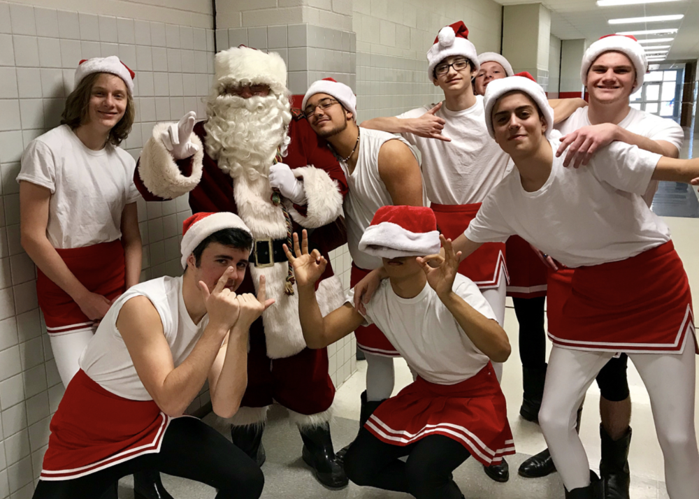 "@ryanraidernation squadin' it up with ""pep rally"" Santa."