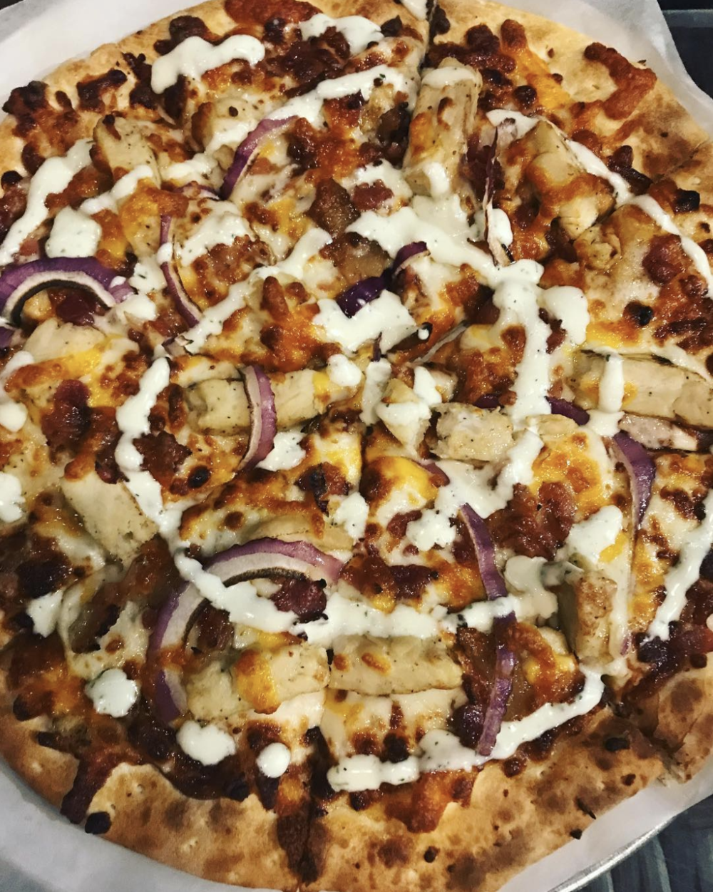 Chicken bacon ranch pizza was on special at @backyardonbell last week.