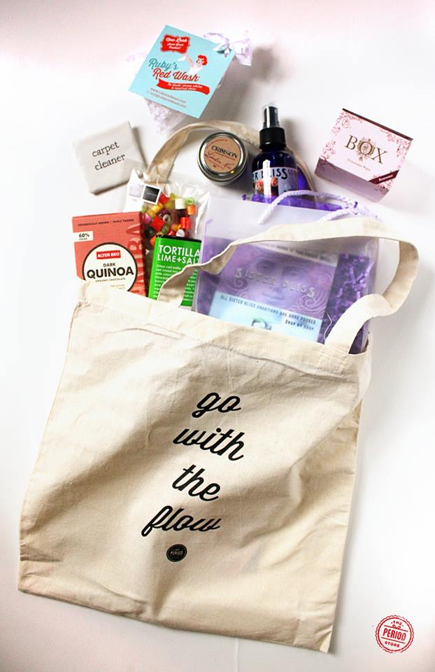 """go with the flow..."" get it?  (don't answer that)... the period store's launch party goody bag..."