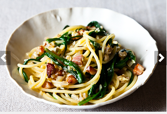 Ramp Carbonara.  Don't know where to get ramps?  Don't know what the heck they are?  Think a ramp is  a sloped walkway so that you can ascend/descend at a more even pace than you can with stairs?  Then sub in peas instead....