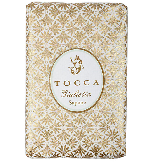 Tocca Giulietta Bar soap, $12.00 : Even if this soap didn't smell of pink tulip and green apple, we would buy it anyway for the gorgeous hand printed paper it's wrapped up in.