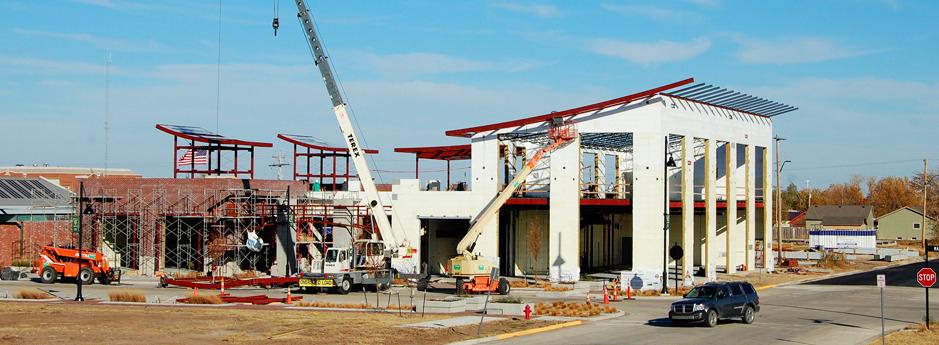 Kiowa County Commons building under construction, LEED Platinum - Greensburg, Kansas