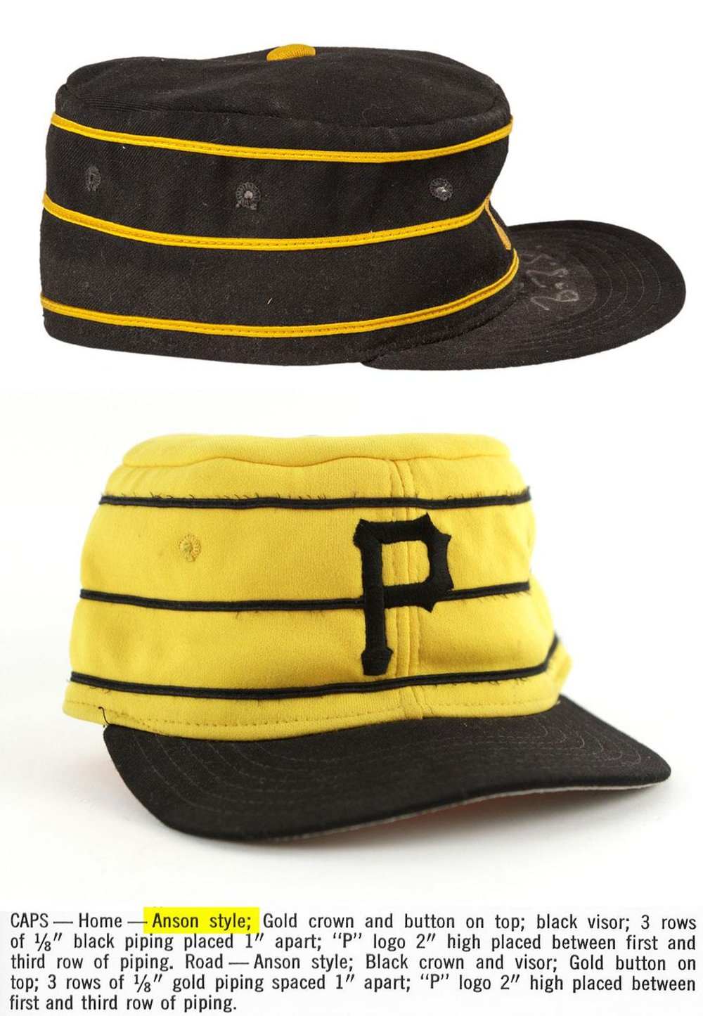Design specs for the pillbox style caps worn by the Pittsburgh Pirates in the 1970s.