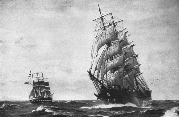 The Northern Light, a clipper ship which reportedly sailed by Krakatoa in August 1883 as it was erupting.