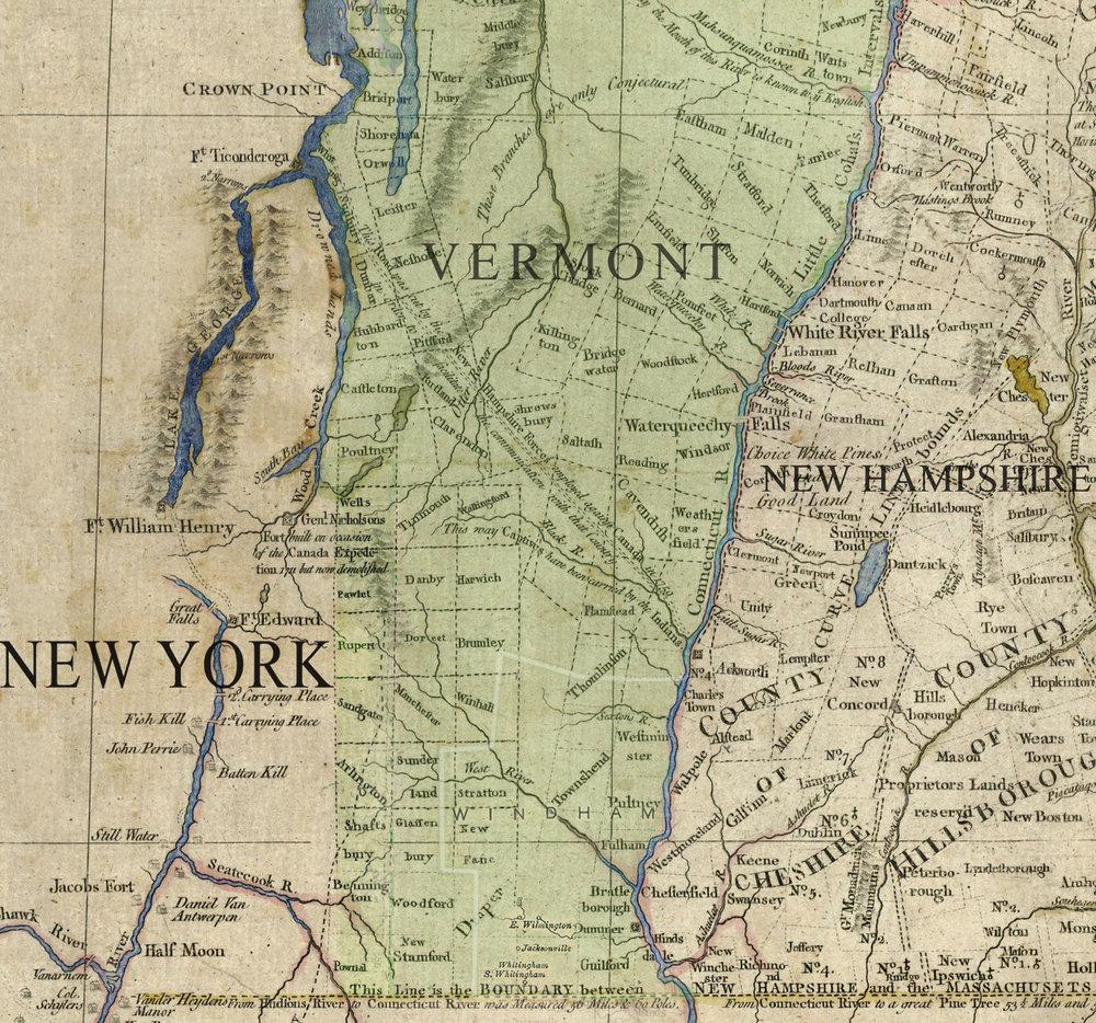 Map of Vermont, circa 1783.