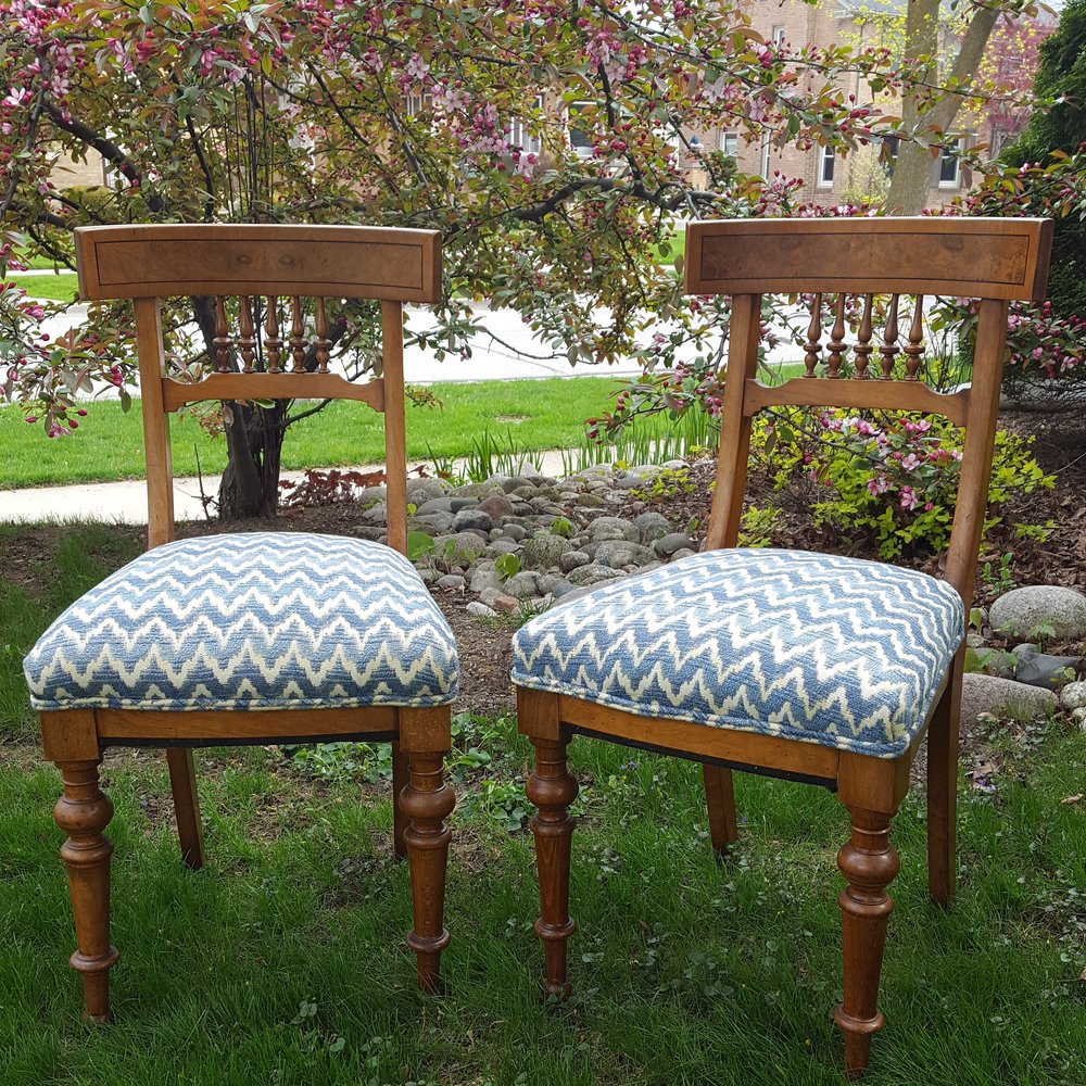 Klismos-Style Burl Wood Spindle Chairs