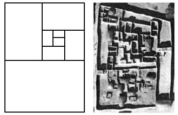 Um retângulo dourado e um palácio tribal africano (a insigma real dessa tribo também um retângulo fractal).