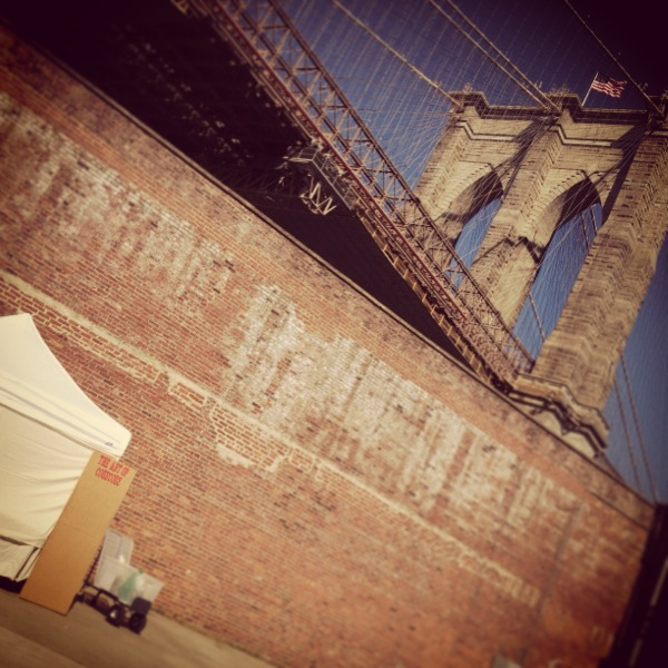 setting up under the Brooklyn Bridge