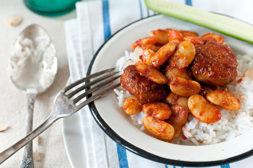 Chicken Patties & Lima Beans In Harissa Sauce.
