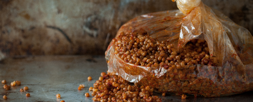 Slow cooked wheatberry & Harissa